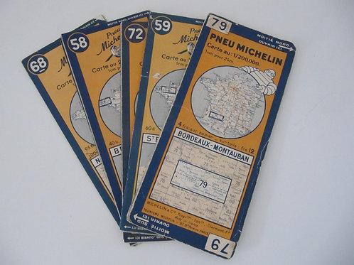 """Cartes Michelin anciennes (lot de 8) - """"port inclus"""""""