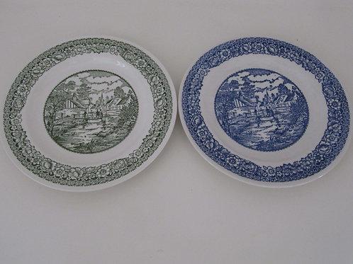 Assiettes céramiques anciennes déco village (les 2)