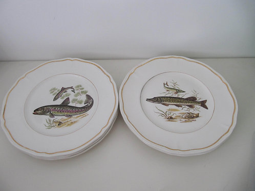 """Assiettes Longchamps """"poissons"""" (6)"""