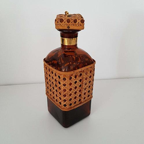 Carafe whisky verre jaune et canelée