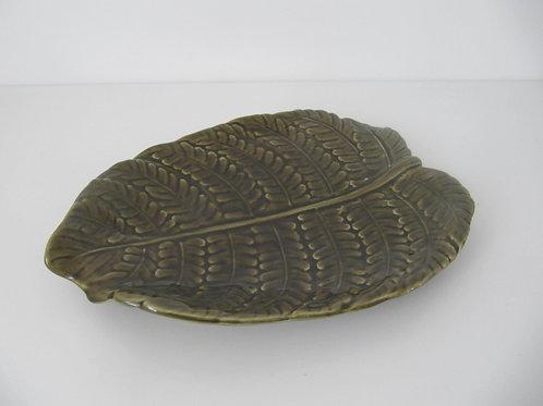 Plat céramique vintage Sarreguemines - Feuille