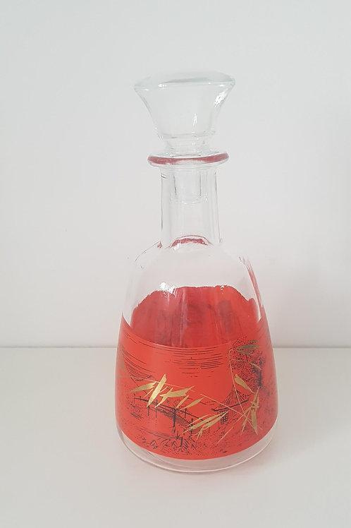 Carafe liqueur en verre décor Bambou - vintage