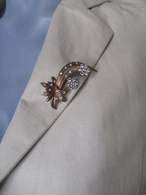 Broche dorée bijou vintage - prix port inclus