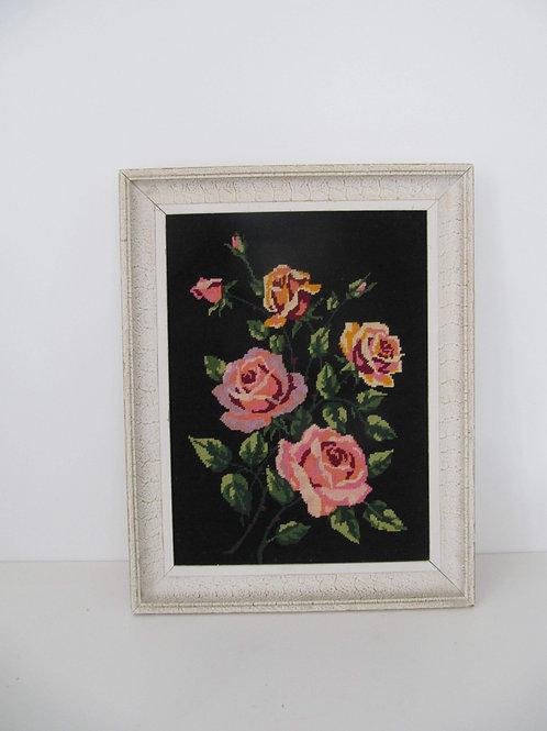 Canevas encadré bouquet de roses vintage
