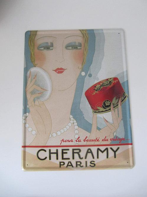"""Plaque métal pubicitaire """"CHERAMY PARIS"""" - Prix port inclus"""