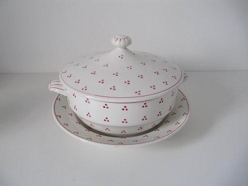 Soupière et plat céramique Sarreguemines pois rouges