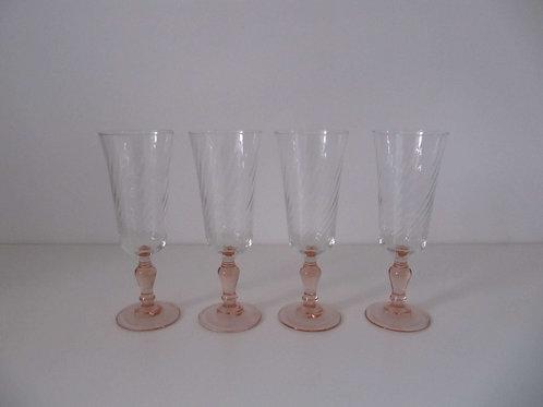 Flûtes à champagne Art Déco ( les 4)