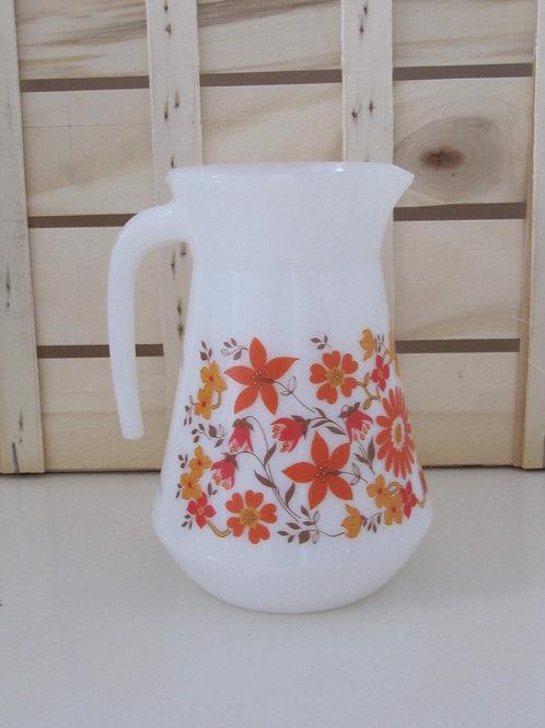 Pot à eau années 70 - fleurs oranges