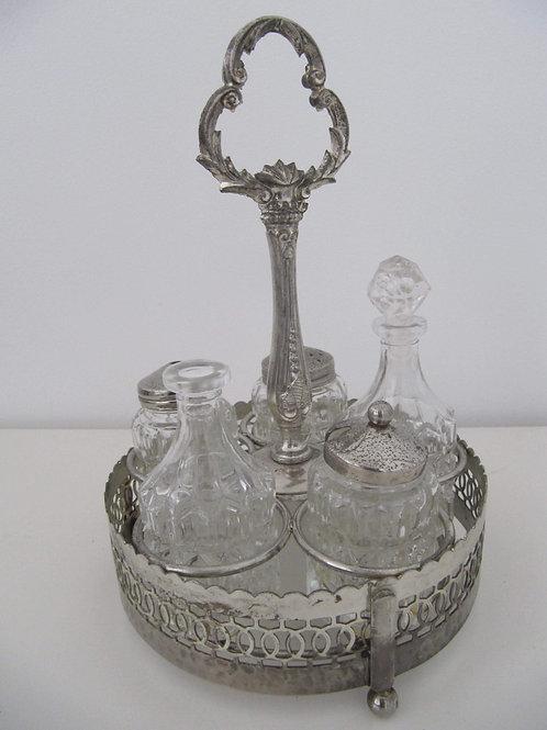 Serviteur Poivre et sel verre et chrome années 50