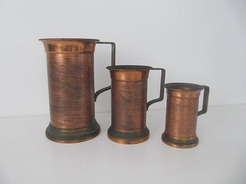 Mesures anciennes en cuivre Villedieu (série de 3)