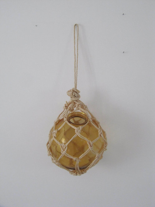 Suspension boule verre macramé - Jaune