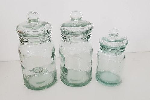 Pots en verre soufflé ( le lot de 3)