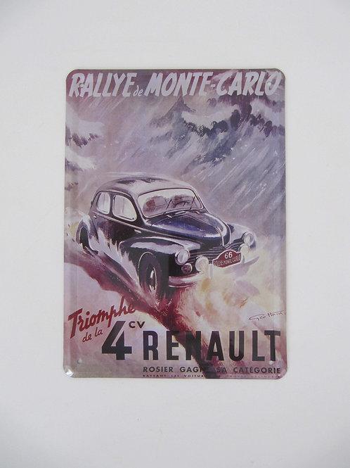 Plaque métal Rallye Monte Carlo- 4CV Renault - Prix port inclus