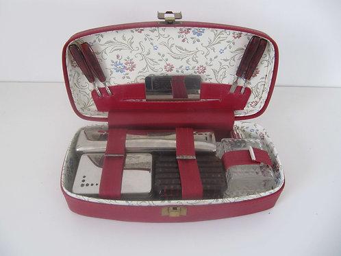 Coffret de toilette sky rouge avec accessoires - Vintage