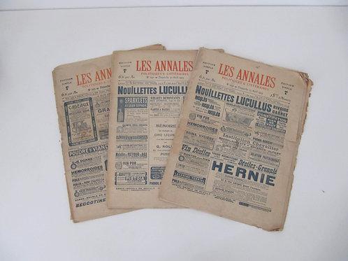 """Journal Les Annales de 1905 - le lot de 3 - """"Port inclus"""""""