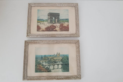 Aquarelles encadrées  Paris ( le lot de 2)