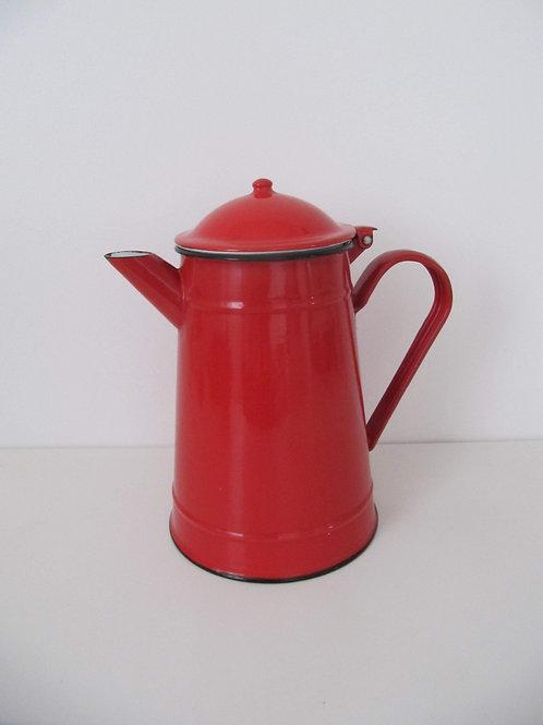 Cafetière émail rouge - rétro