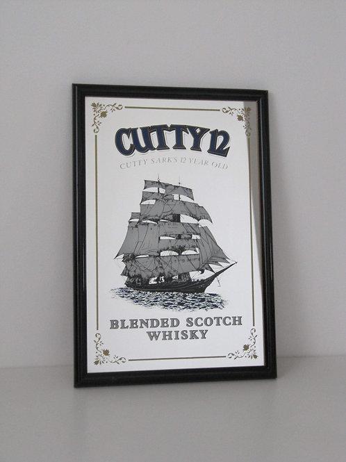 Miroir de bar publicitaire CUTTY12 Scotch whisky VINTAGE