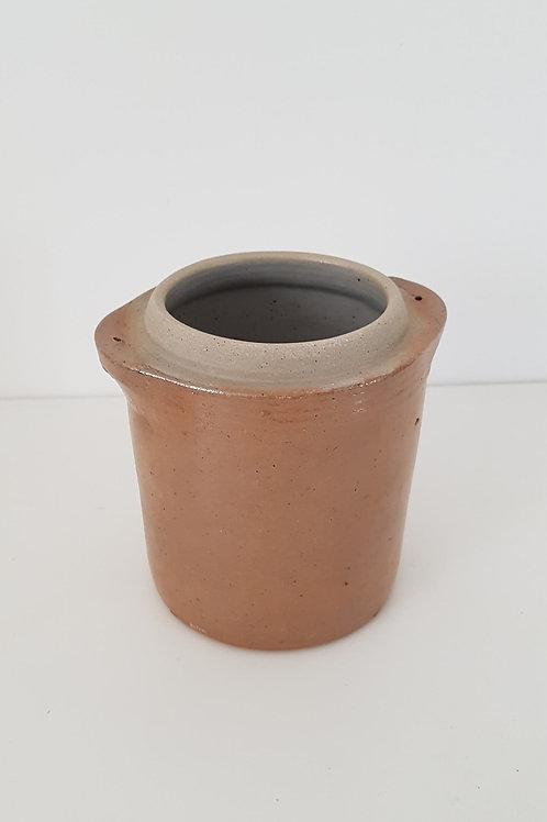 Pot à sel ancien en grès vernis marron