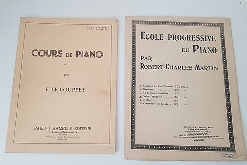 Partitions cours de piano  - Le Coupery et Martin -lot de 2