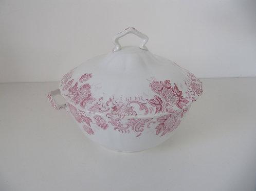 Soupière céramique ancienne Saint Amand fleurs roses
