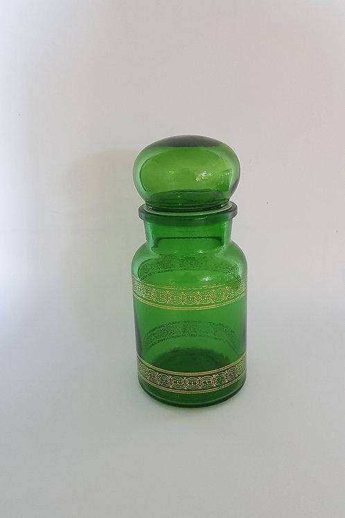 Bocal alimentaire vert - verre- vintage
