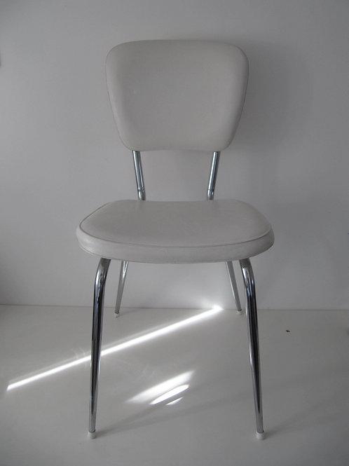 Chaise skai blanc chromée - vintage