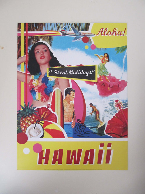 Affiche Hawaï façon vintage -  ALOHA.