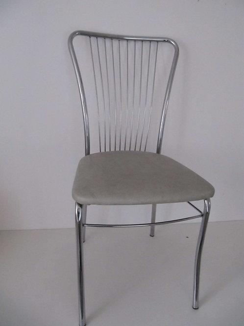 Chaise vintage skai et chrome