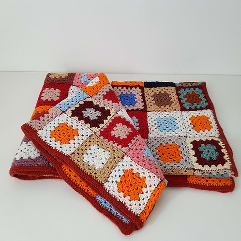 Plaid au crochet patchwork Vintage