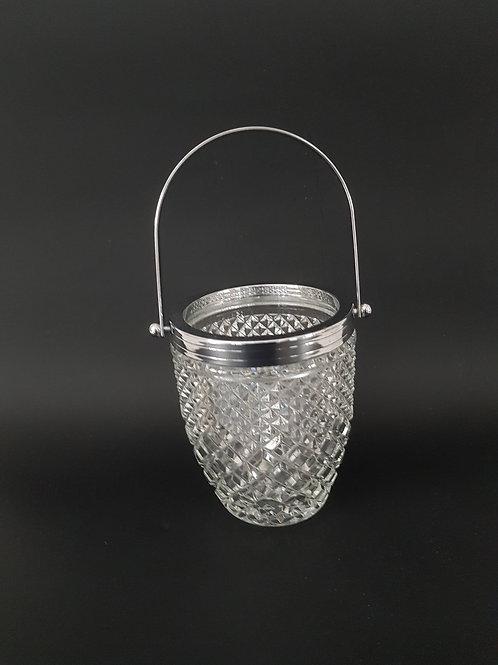 Seau à glaçons verre et métal des années 60