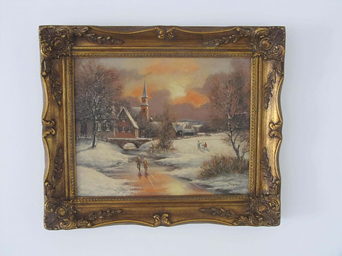 Peinture huile encadrée signée paysage de 1955