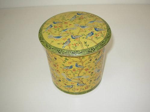 Boîte métal ronde vintage - motifs oiseaux