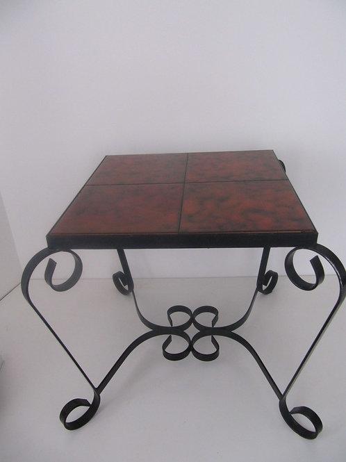 Table basse fer forgé et céramique vintage