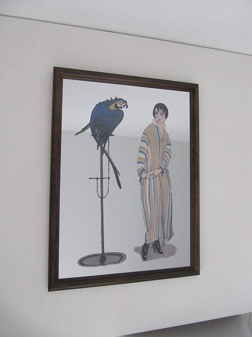 Miroir Art Déco vintage femme et perroquet