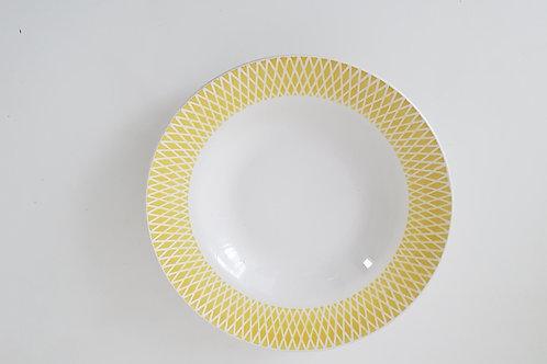 Lot de 3 assiettes creuses céramique jaune et beige