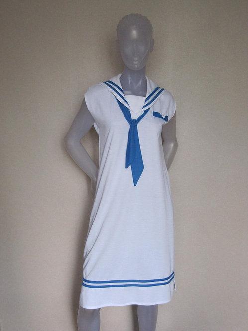 "Robe ""matelot"" blanche vintage T38 -"