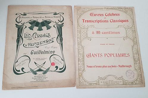 Partitions anciennes les Cloches d'Herbemont et chants populaires