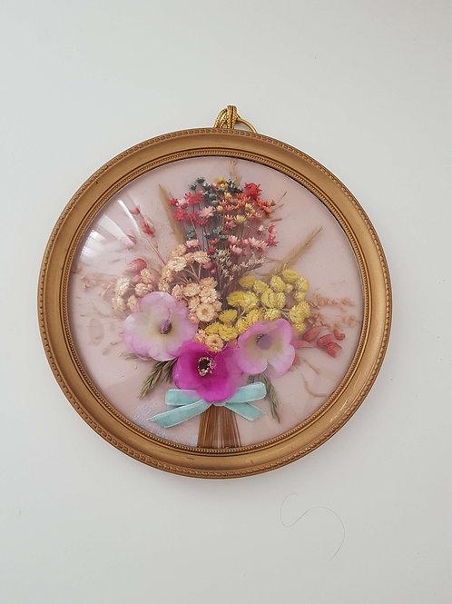 Cadre rond baroque - fleurs séchées - Vintage