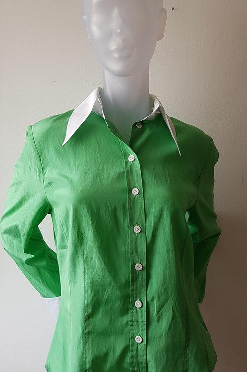 Chemisier vert et blanc années 70 - Vintage