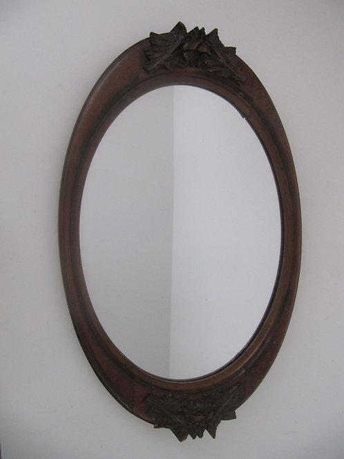 Miroir ovale tour bois - ancien