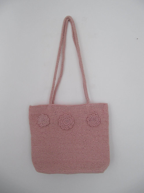 Sac rose au crochet vintage