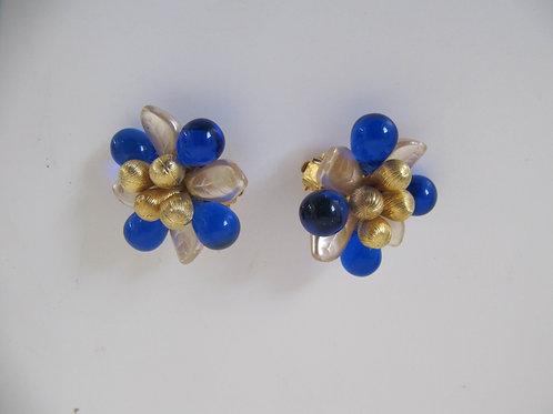 Boucles d'oreille fleurs vintage - prix port inclus