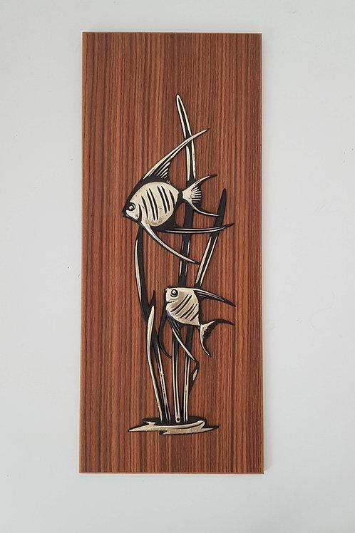 Plaque bois décorative poissons exotiques seventies