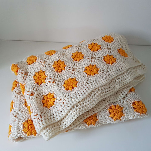 Plaid laine au crochet vintage bicolore