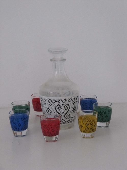 Service à liqueur vintage motifs graphiques