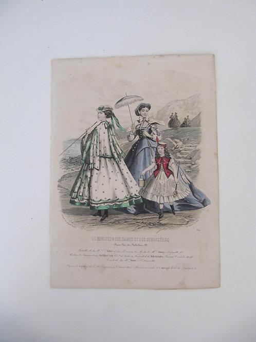 Gravure ancienne de Mode- Journal des demoiselles