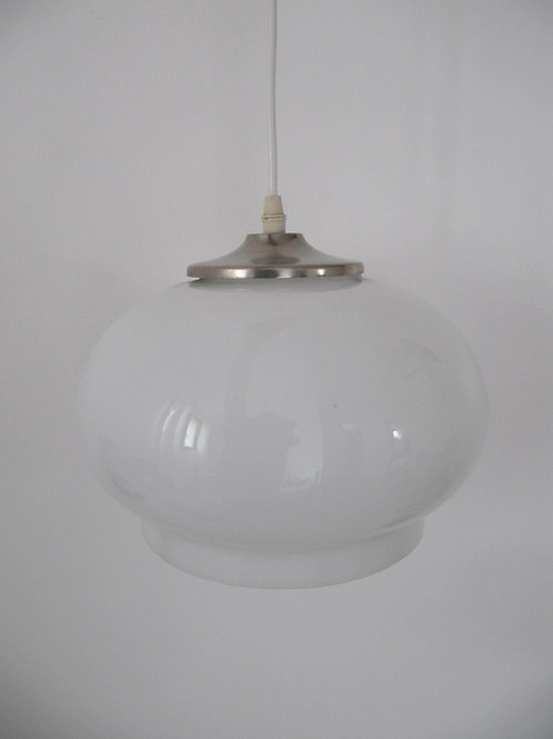 Lustre suspension vintage verre opalin blanc