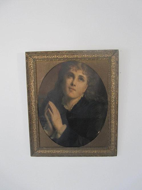 Portrait femme - huile ancienne