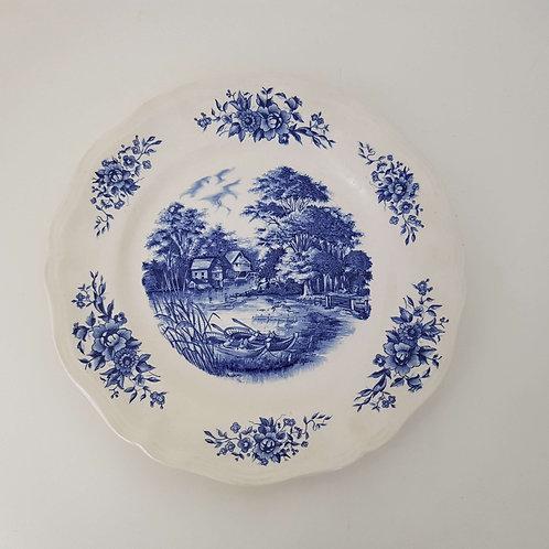 Assiette céramique bleue Romantic Sarreguemines